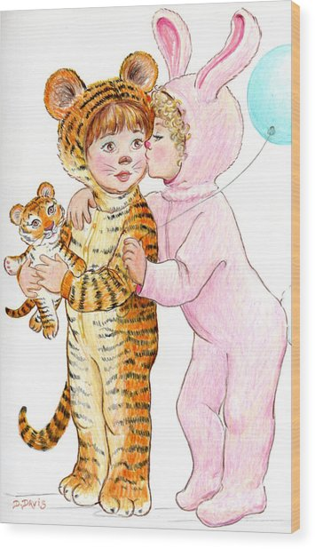 Tiger And Bunny In The Children's Parade Wood Print