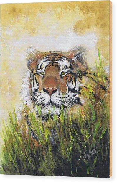 Tiger In Grass Wood Print