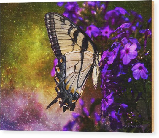 Tiger Swallowtail Feeding In Outer Space Wood Print