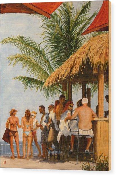 Tiki Bar Wood Print