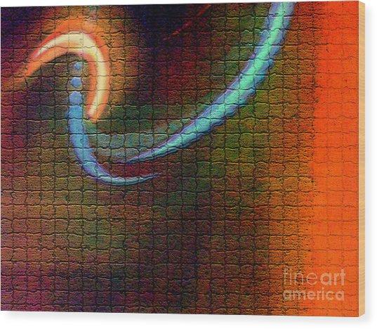 Tiles All Aglow Wood Print