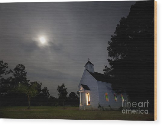 Time For Church Wood Print