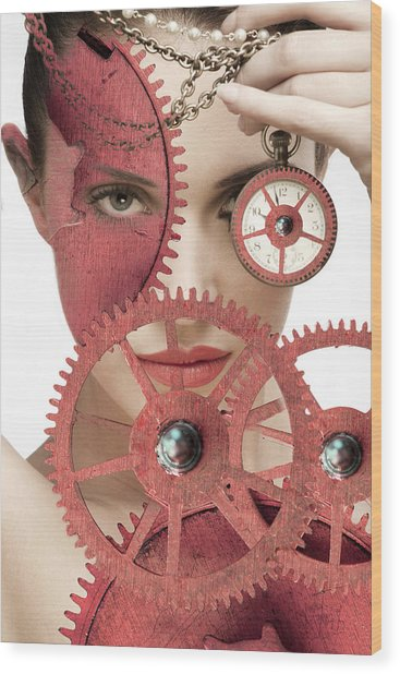 Time Is An Illusion Wood Print by Rozalia Toth