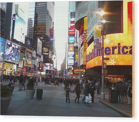 Time Square Wood Print by Cecelia Taylor-Hunt