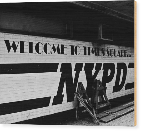 Times Square Nypd Wood Print
