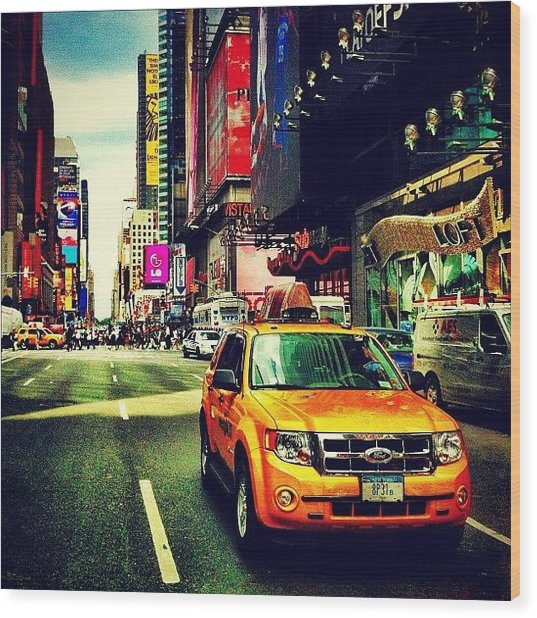 Times Square Taxi Wood Print