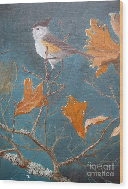 Titmouse Wood Print by Rick Mittelstedt