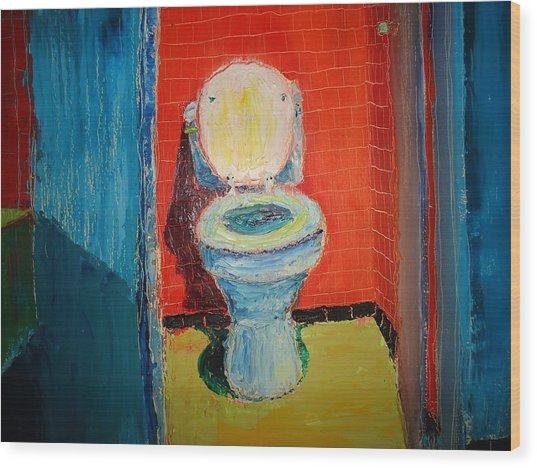 Toilet Painting Wood Print by John Geannaris