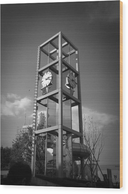 Tokyo City Clock Wood Print