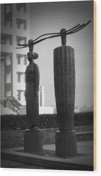 Tokyo City Sculptures Wood Print