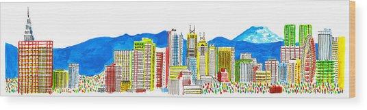 Tokyo's Skyline Wood Print by Catarina Bessell