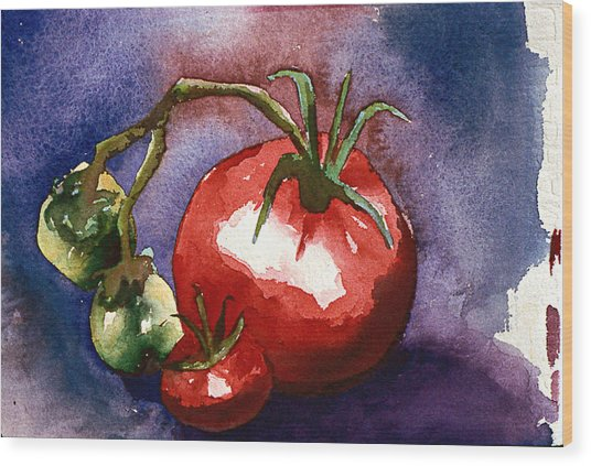 Tomatoes Wood Print by Eunice Olson