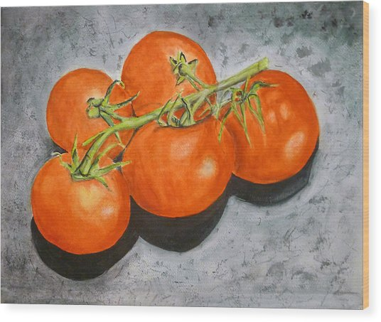 Tomatoes Wood Print by Linda Pope