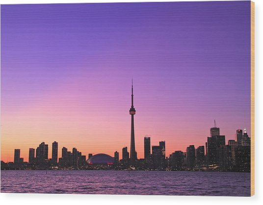 Toronto Purple Skyline Wood Print by Aqnus Febriyant