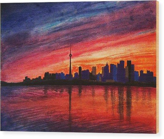 Toronto Skyline Wood Print by Fariz Kovalchuk
