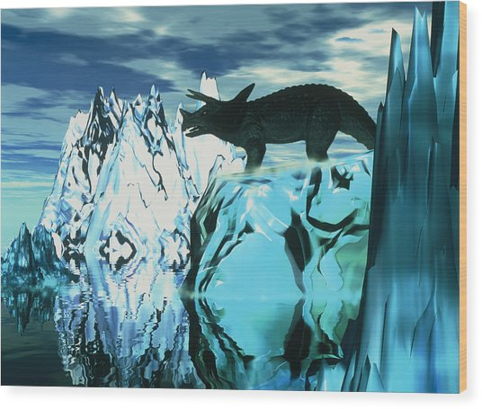 Torosaurus Dinosaur In An Icy Landscape Wood Print by Victor Habbick Visions