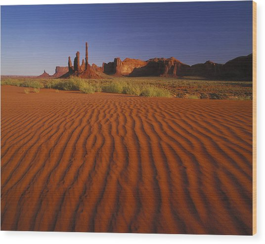 Totem Pole Rocks, Monument Valley Wood Print by Brian Lawrence