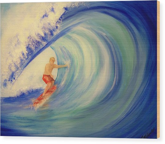 Touching The Wave Wood Print by Lynda McDonald
