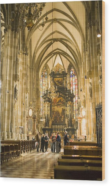 Tourists At Altar Of Stephansdom Wood Print by Greg Elms