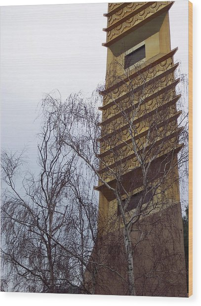 Tower And Trees Wood Print