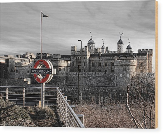Tower Of London With Tube Sign Wood Print