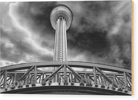 Tower Of The Americas San Antonio In Chrome Wood Print