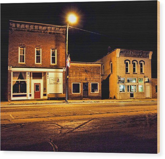 Town Street At Night Wood Print