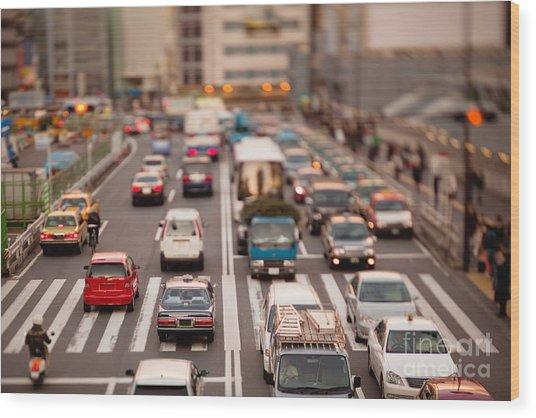 Toy Cars In Tokyo Wood Print by Ei Katsumata