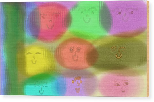 Toy Faces Wood Print by Rosana Ortiz