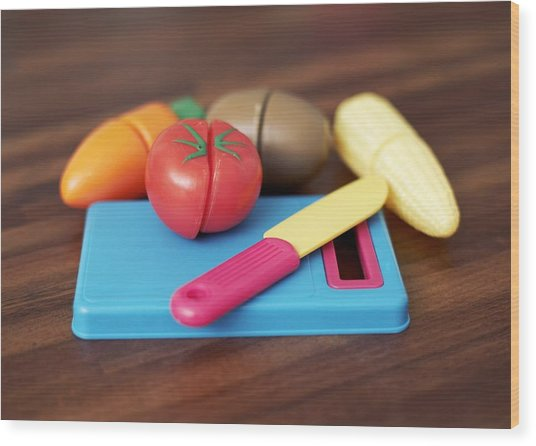 Toy Vegetable Chopping Board Wood Print by Ian Boddy