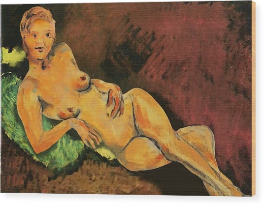Traditional Modern Female Nude Reclining Wood Print