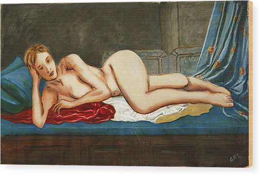 Traditional Modern Female Nude Reclining Odalisque After Ingres Wood Print