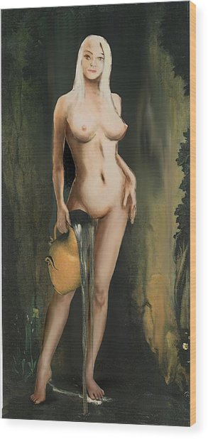 Traditional Modern Female Nude Standing Wood Print