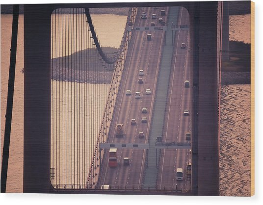 Traffic On Tsing Ma Bridge, Hong Kong, China Wood Print by Yiu Yu Hoi