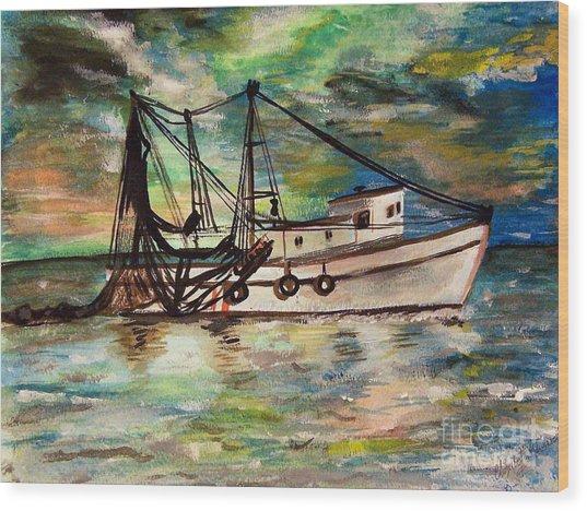 Trawling Wood Print