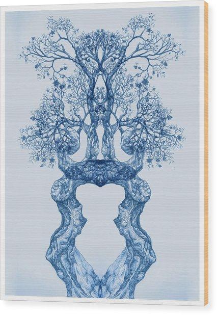Tree 14 Blue 2 Wood Print