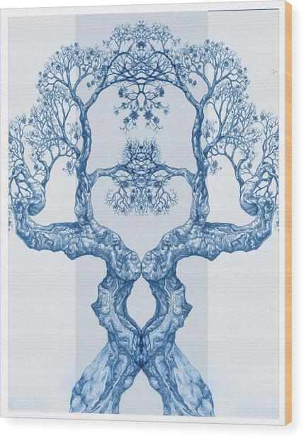 Tree 14 Blue 6 Wood Print