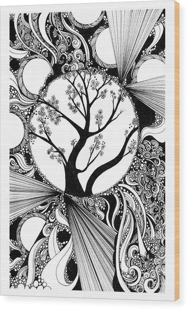 Tree Doodle 58 Wood Print