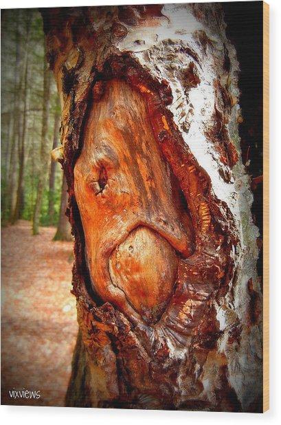 Tree Face Wood Print by Vix Views