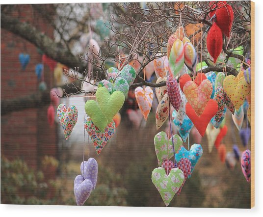 Tree Hearts Wood Print