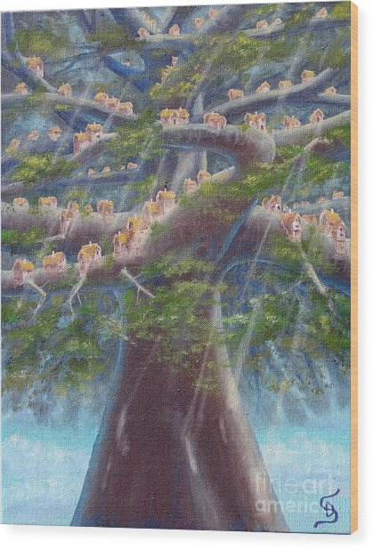Tree Houses From Arboregal Wood Print