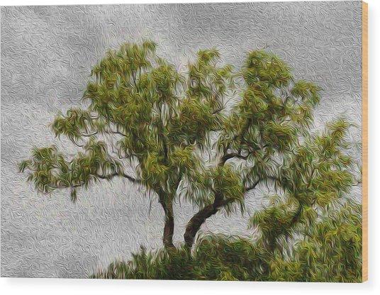 Tree In The Wind Wood Print