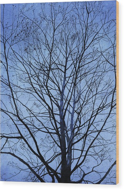Wood Print featuring the painting Tree In Winter by Andrew King
