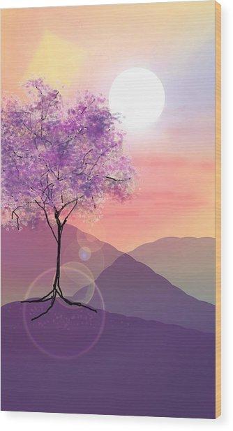 Tree On A Hill Wood Print
