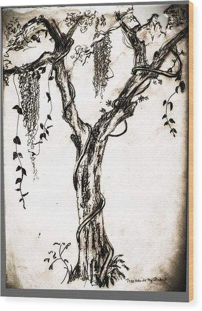 Tree Outside My  Wood Print