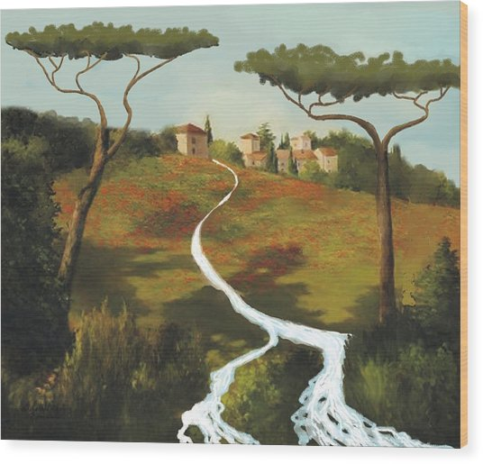 Trees Of Tuscany Wood Print by Larry Cirigliano
