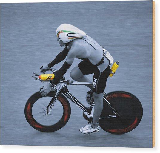 Triathlon Man Wood Print