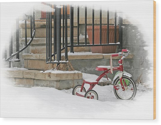 Tricycle Wood Print by Judy Deist