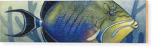Triggerfish Wood Print by Alyssa Parsons