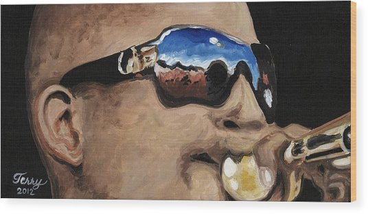 Trombone Shorty At The Jazz Fest Wood Print by Terry J Marks Sr